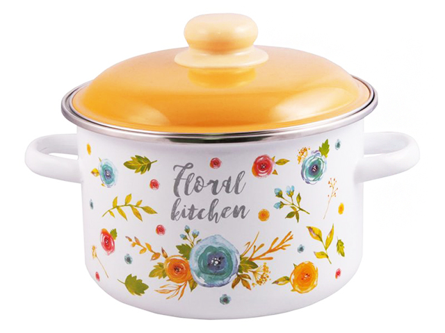 """Кастрюля 3л """"Floral kichen"""" цилиндрическая, с металлическим ободком, эмаль"""