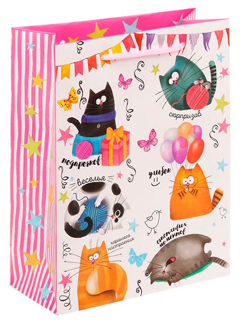 """Пакет подарочный бумажный 18х23х8 """"Забавные коты"""" ламинированный"""