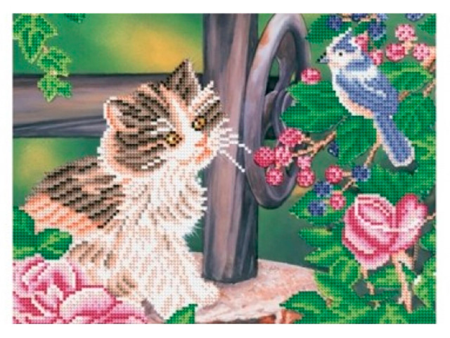 """Алмазная мозаика Рыжий кот """"Котенок и птичка"""" 30х40 см, блестящая, без подрамника"""