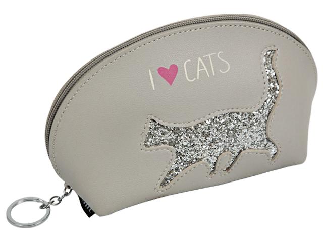 "Пенал-косметичка deVENTE ""Gray Cat"" 21х12х7 см, с аппликацией из пайеток, серый, на молнии"