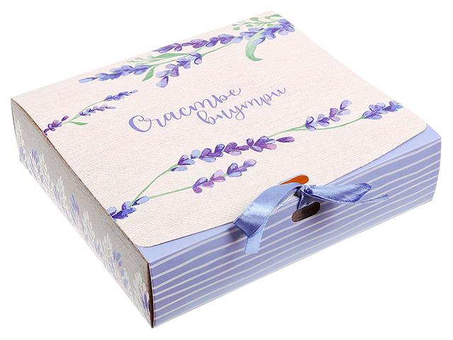 """Коробка подарочная складная """"Счастье внутри"""" 20х18х5 см, с атласной лентой"""