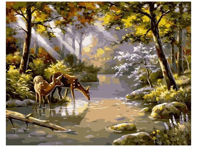 """Картина по номерам Colibri """"Олени на водопое"""" 40*50см"""