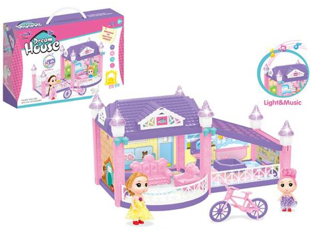 """Дом для кукол """"Прекрасный дом"""" 39х22 см, складной, 2 куклы, 59 предметов, свет, звук"""