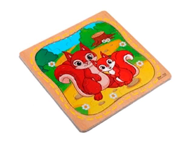 """Пазл- рамка для малышей """"Белочки"""" 16 элементов. 15х15 см"""