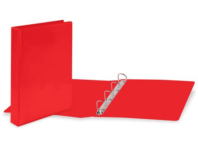Папка на 4 кольцах BRAUBERG, картон/ПВХ, с передним прозрачным карманом, 50 мм, красная, до 300 листов, 223531