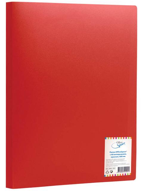 Папка OfficeSpace 60 вкладышей, 21 мм, 400 мкм, красная