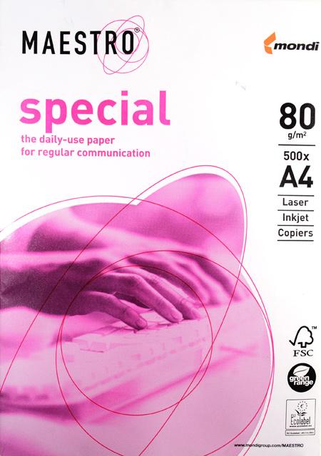 Бумага для офисной техники Maestro Special (A4, 80г/кв.м, белизна 160%, класс-В, 500 листов)