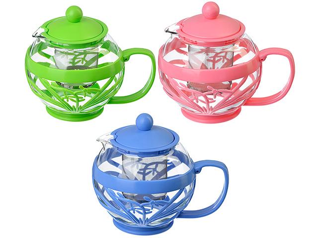 Чайник заварочный 750мл, с сеточкой, ситечко из нержавеющей стали, стекло, пластик, 3 цвета