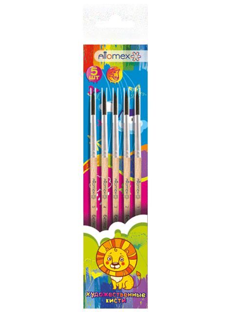 Набор кистей 5 штук Attomex (белка №1,2,3,4,5) деревянная ручка, в пакете с подвесом