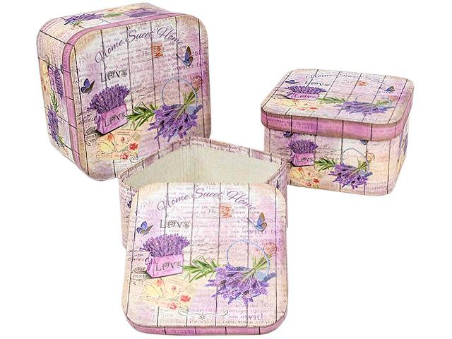 "Набор коробок 3 в 1 ""Лаванда"" квадратные с закругленными краями, 19х19х11 см"