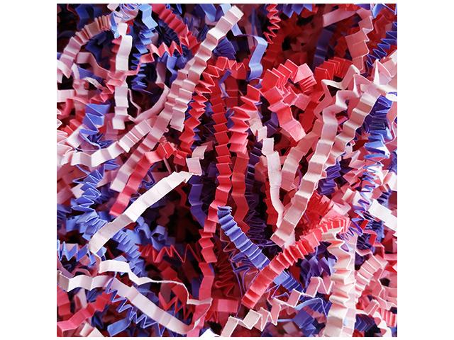 """Наполнитель бумажный """"Розовый букет"""" микс (розовый пастель + интенсив фиолетовый, красный) 100гр"""