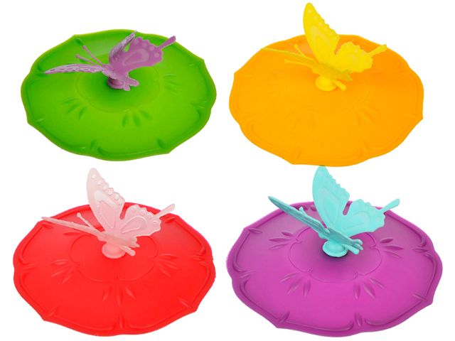 """Крышка для кружки """"Бабочка"""" 10,5см, силикон, 3 цвета"""