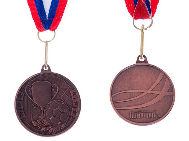 """Медаль тематическая """"Футбол"""" 176 (4 см), металлическая, на ленте, бронза"""