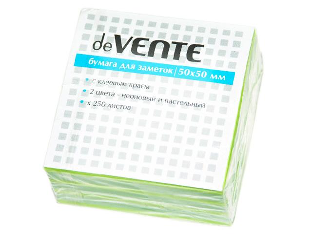 Блок для записей с клеевым краем deVENTE 50х50 мм 250 листов, 2 цвета (желтый,зеленый)