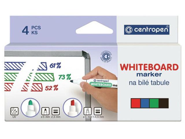 """Набор маркеров для белой доски Centropen """"Dry-Wipe"""" 2,5 мм, круглый наконечник, 4 цвета"""
