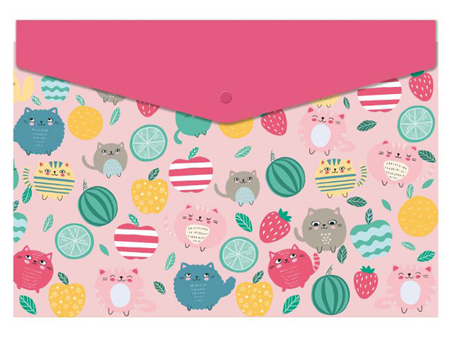 """Папка-конверт на кнопке А4 Феникс+ """"Коты-фрукты"""""""