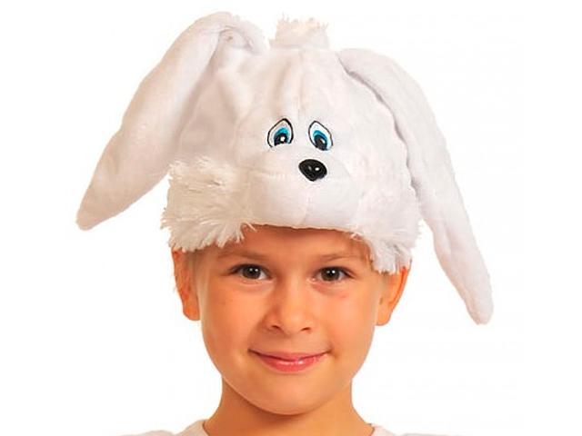 """Маска карнавальная """"Зайчик белый"""" , плюш"""