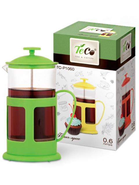 Френч-пресс TECO 0,6л, пластик, стекло, зеленый