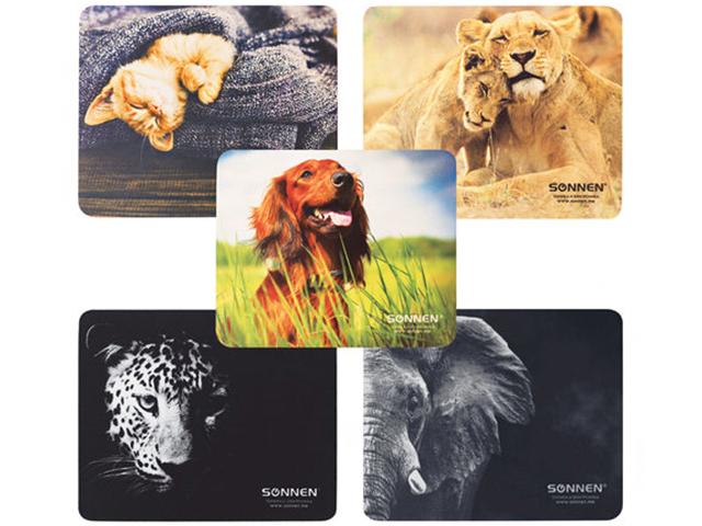 """Коврик для мыши SONNEN """"Животные"""" резина+ткань, 220х180х3 мм, 5 видов"""