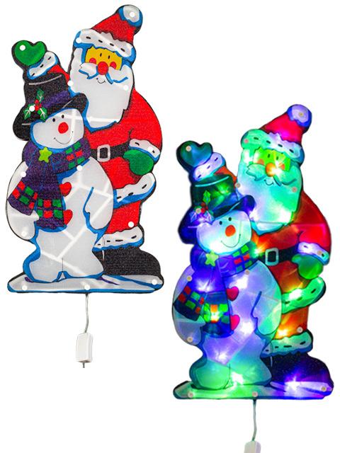 """Фигура световая """"Дед Мороз и снеговик"""" 24х45 см, 20LED, мульти, 220V"""