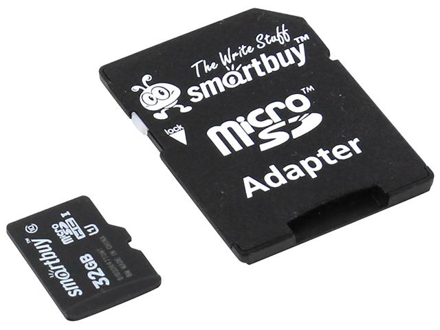 Карта памяти Smart Buy Micro SDHC 32 Gb Class 10 (с адаптером)
