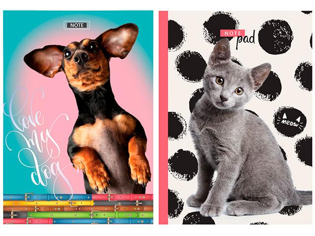 """Бизнес-блокнот А5 80 листов БиДжи """"Lovely pets"""" обложка твердая, глянцевая ламинация"""