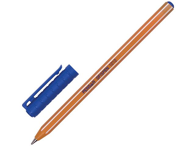 """Ручка шариковая масляная Pensan """"Officepen 1010"""" 1 мм, корп. оранжевый., синяя"""