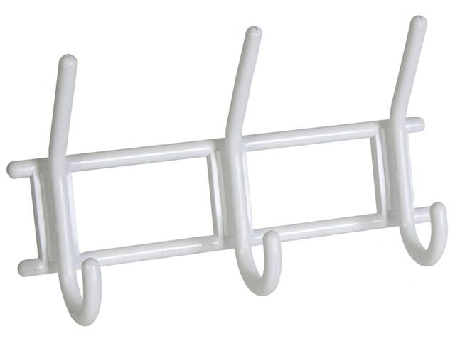 Крючок-вешалка 3-х рожковый, снежно-белый, пластмасса