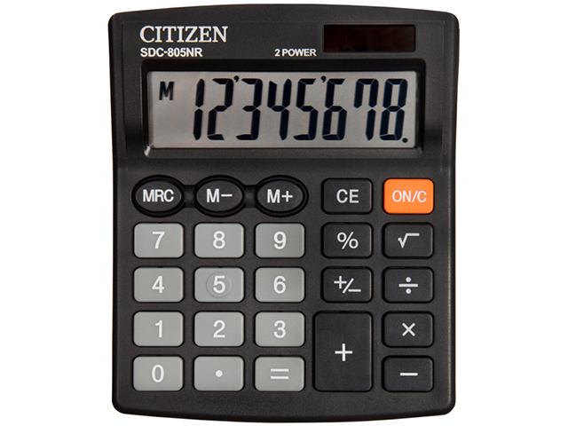 Калькулятор настольный CITIZEN SDC-805NR 8 разрядный, двойное питание, черный