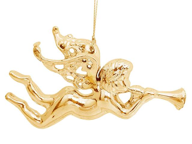 """Новогоднее украшение """"Ангел золото"""" 12,5 см, пластик"""
