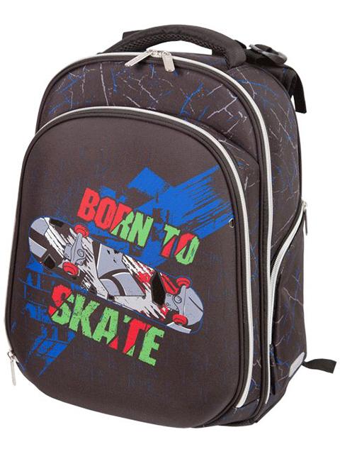 """Рюкзак школьный deVENTE """"Step. Born To Skate"""" 38х28х16 см, 2 отделения, жесткая, ортопедическая спинка"""