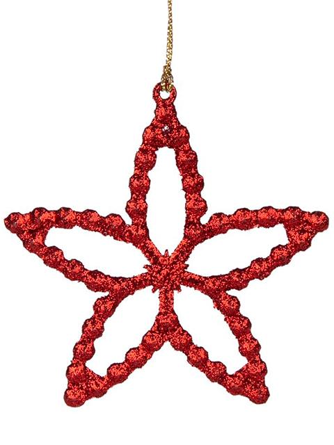 """Новогоднее украшение """"Звездочка красная"""" 10 см, пластик"""