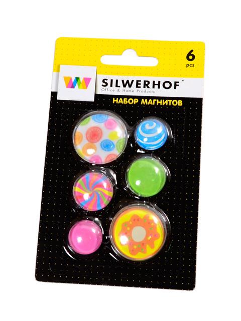 """Набор магнитов для доски """"Silwerhof. Candy"""" 6шт. 18/22/30мм., в блистере"""