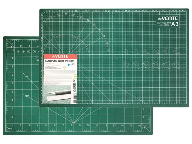 Коврик для резки А3 deVENTE, двусторонняя разметка, ПВХ 3мм, зеленый