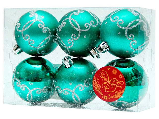 Набор елочных шаров MagicTime, 6 см, 6 шт, лазурный с серебряным узором, пластик