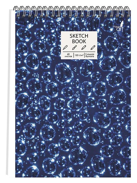 """Скетчбук А5 60 листов PaperArt """"Пузыри"""" твердая обложка, на евроспирали"""