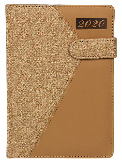 """Ежедневник датированный А5 176 листов """"Фьюжн. 2020"""" кожзам, застежка, песочный/светло-коричневый"""