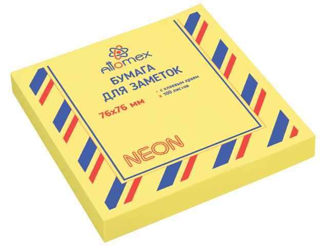Блок для записей с клеевым краем Attomex 76х76 мм 100 листов, неоновый желтый