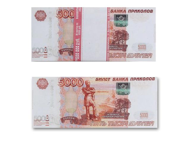 """Шуточные (сувенирные) деньги """"5000 дублей"""""""