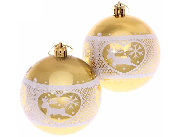 """Набор елочных шаров Серпантин """"Любимый олень"""", 8 см, 2 шт, золото с узором, пластик"""