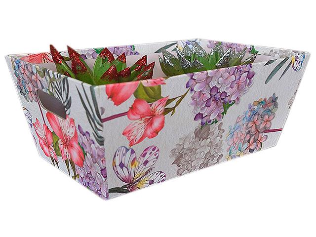 "Коробка цветочница ""Романтика"" 298х196х120 мм, прямоугольная, белая с принтом"