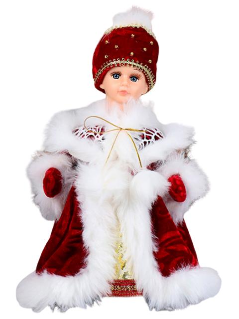 """Новогодняя игрушка """"Снегурочка. Меховая шубка"""" Шик 30 см, двигается, без звука"""