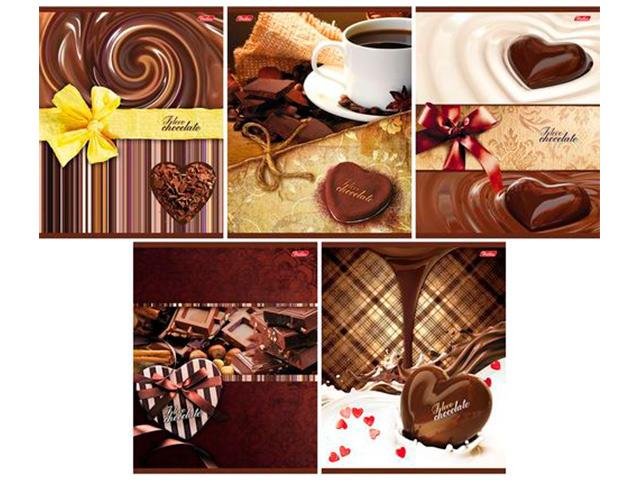 "Тетрадь А5 96 листов клетка Хатбер ""Шоколад"" на скрепке"