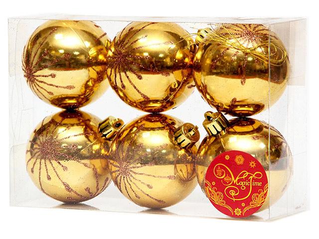 Набор елочных шаров MagicTime, 6 см, 6 шт, золотые с красной искрой, пластик