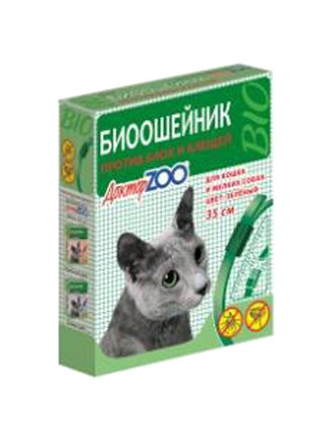 Доктор ZOO БИОошейник для кошек и мелких собак от блох и клещей 35см, зеленый