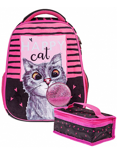 """Рюкзак школьный Хатбер """"Ergonomic. Bubble cat"""" 38х29х12.5 см, 1 отделение, с термосумкой"""