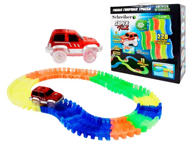"""Игровой набор """"Super Tracks"""" 220 деталей, гибкая гоночная трасса и машинка с подсветкой, в коробке"""