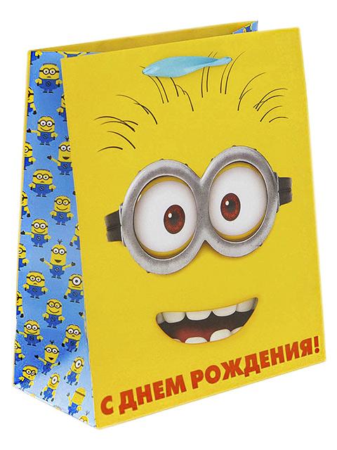 """Пакет подарочный бумажный 18х23х8 """"Миньоны. С днем рождения!"""" ламинированный"""