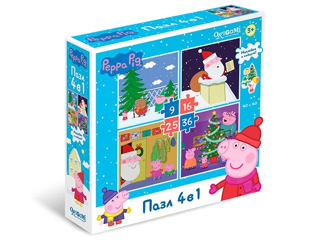"""Пазлы (набор 4в1) 9-16-25-36 элементов Оригами """"Свинка Пеппа. Зима"""" с наклейками"""