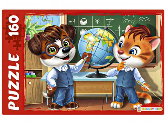 """Пазлы 160 элементов 340х240 Рыжий кот """"Bright kids. Урок географии"""""""